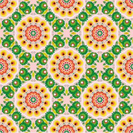 Fabric 10940 | folk mandalas pink