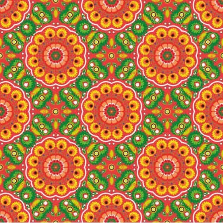 Fabric 10941 | folk mandala red