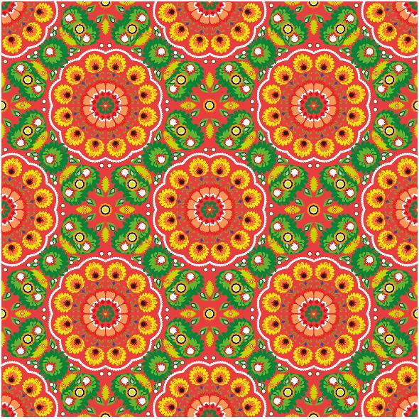 Tkanina 10941 | folk mandala red