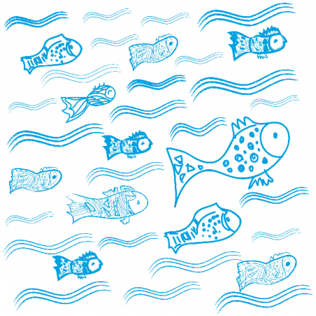 Fabric 10942 | Fishes in the water 3 - blue and white pattern