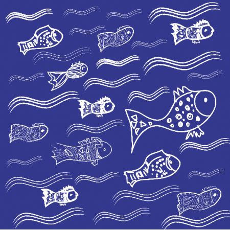 Fabric 10943 | Fishes in the water 4 - navy blue and white pattern