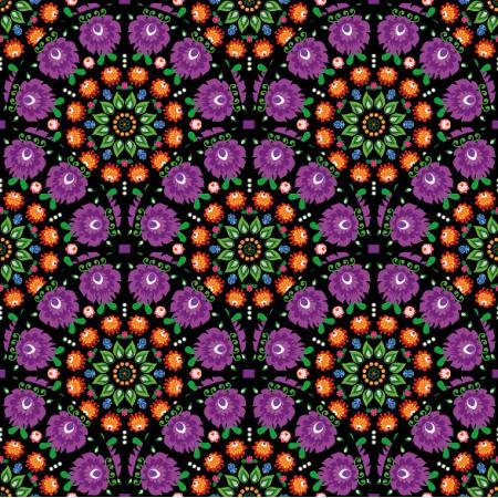 Fabric 10944 | folk mandala purple