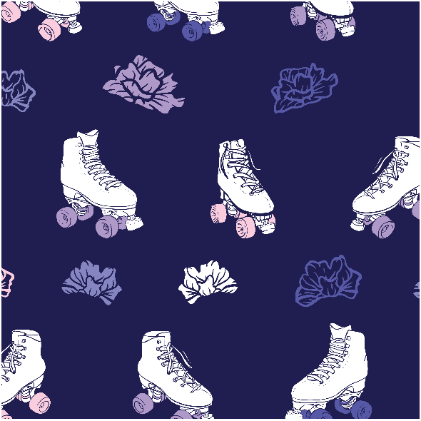 Fabric 10969 | Roller skates with roses