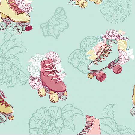 Fabric 10970 | Retro wrotki na różach