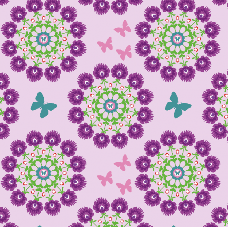 Fabric 10981 | Folk Mandala flower purple