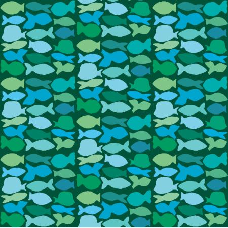 Fabric 10984 | Rybki w zielonym kwadracie