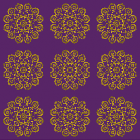 Tkanina 10987 | Folk Mandala BROW Purple0