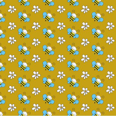 Tkanina 11018 | Pszczółki - mustard BG
