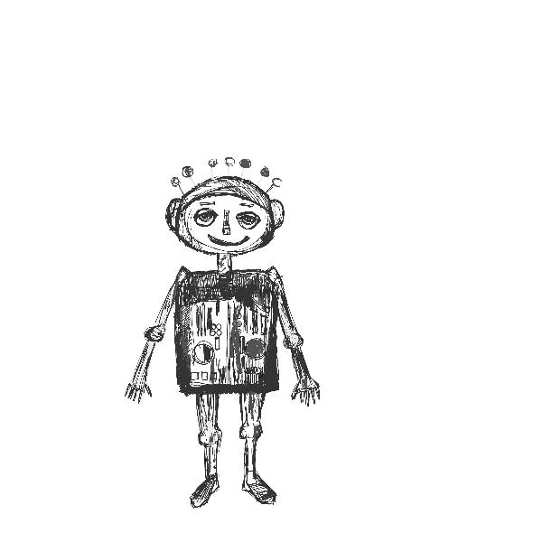 Tkanina 11019 | little robot - black and white pattern for kids