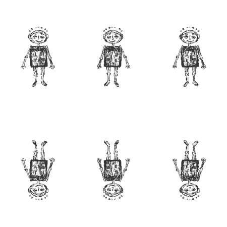 Tkanina 11091 | little robot - black and white pattern for kids 2