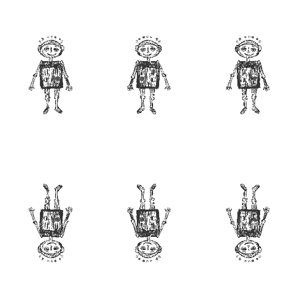 Fabric 11091 | little robot - black and white pattern for kids 2