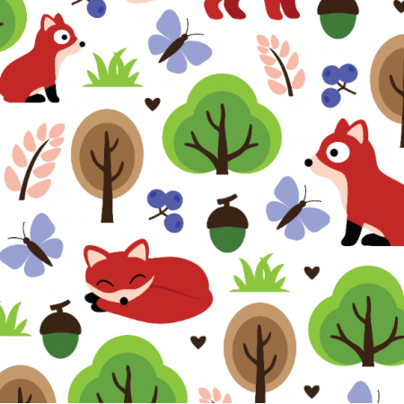 Fabric 11127 | foxes in the oak forest