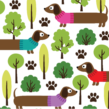 Fabric 11192 | DACHSHUNDS ON A WALK IN THE PARK