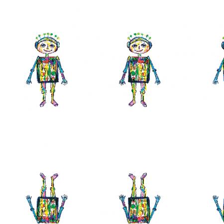 Tkanina 11193 | little robot - colourfull pattern for kids 2