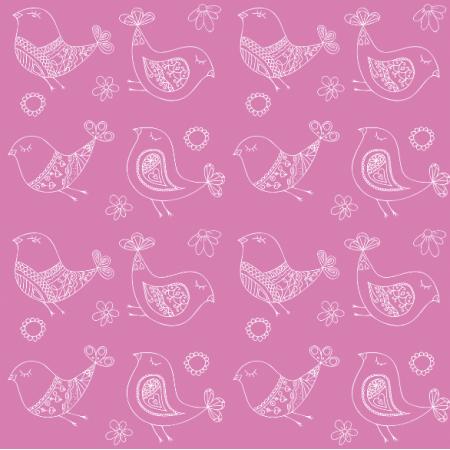 Tkanina 11302 | Doodle Ptaki - pink