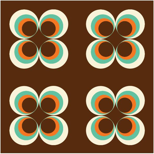 Tkanina 11303 | Retro Kółka - brown