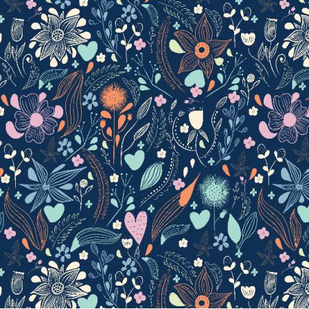 Fabric 11393 | pastelowe kwiaty