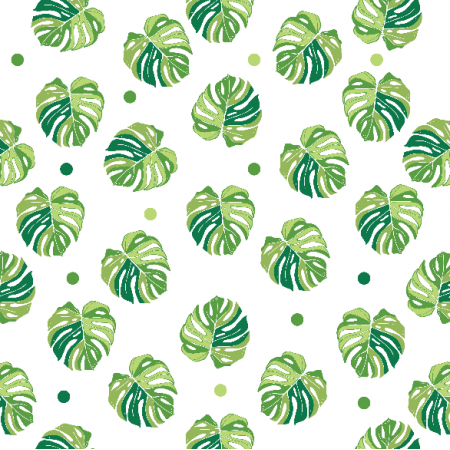 Fabric 11395 | monstera na bieli