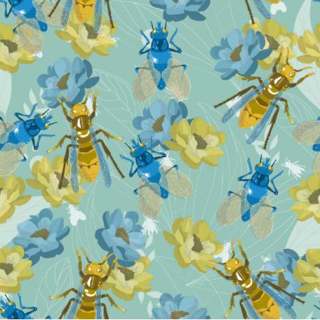 Fabric 11396 | owady na kwiatach