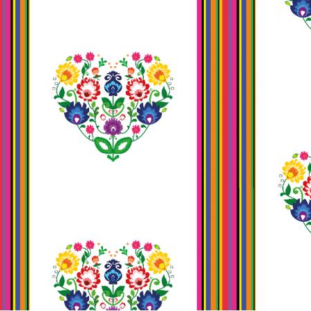 Tkanina 11406 | Folk - paski i serca (white) Small