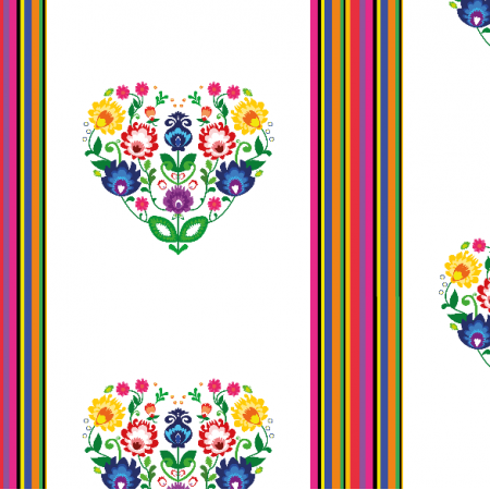 Fabric 11406 | Folk - paski i serca (white) Small