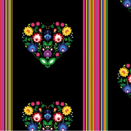 Tkanina 11407 | Folk - paski i serca (Black) Small