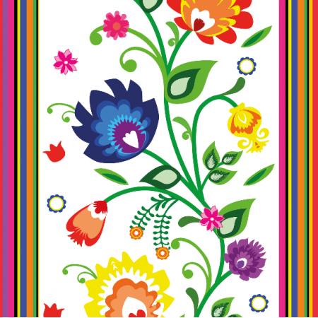 Tkanina 11408 | Folk paski i kwiaty (white)
