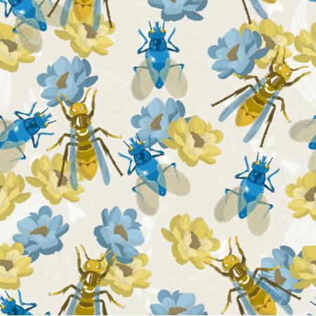 Fabric  | owady na kwiatach w beżu