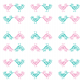 Fabric 11563 | pink and mint birds pattern 2