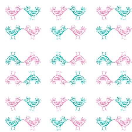 11563 | pink and mint birds pattern 2