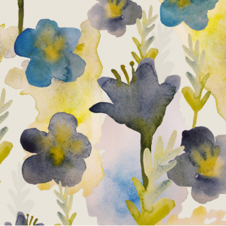 Tkanina 11655 | kwiaty akwarelowe