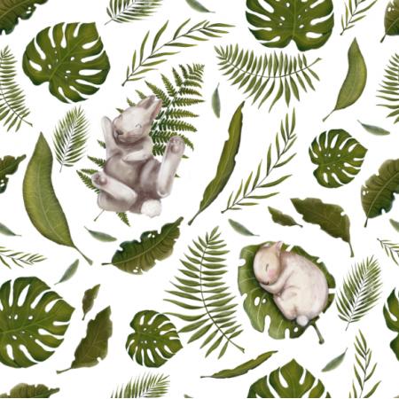 11664 | króliki na liściach małe