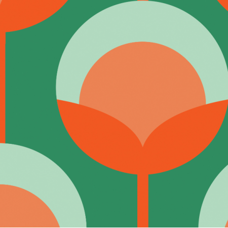11714 | Retro Pąki na zielonym ( seria: Mellow RETRO)0