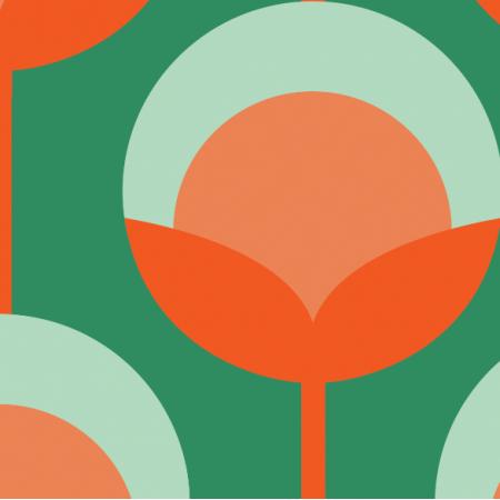 Fabric 11714 | Retro Pąki na zielonym ( seria: Mellow RETRO)0