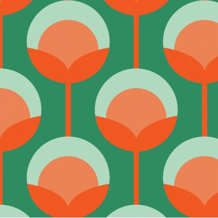 Tkanina 11715 | Retro Pąki na zielonym Small ( seria: Mellow RETRO)0
