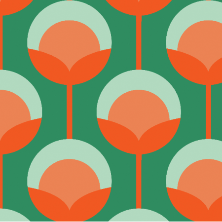Fabric 11715 | Retro Pąki na zielonym Small ( seria: Mellow RETRO)0