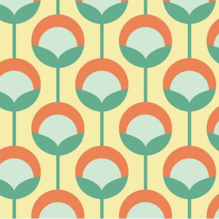 11716 | Retro Pąki na Żółtym (seria: MELLOW  RETRO)0