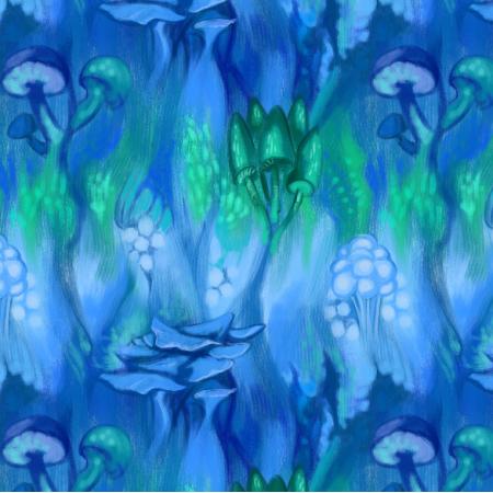 Tkanina 11729 | Niebieskie Grzyby