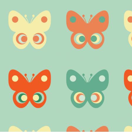 Tkanina 11755 | Motyle  (seria: Mellow RETRO)