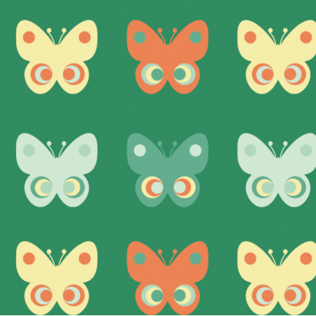 Tkanina 11756 | Motyle  (seria: Mellow RETRO)