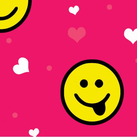 Tkanina 11766 | Emotki Pink