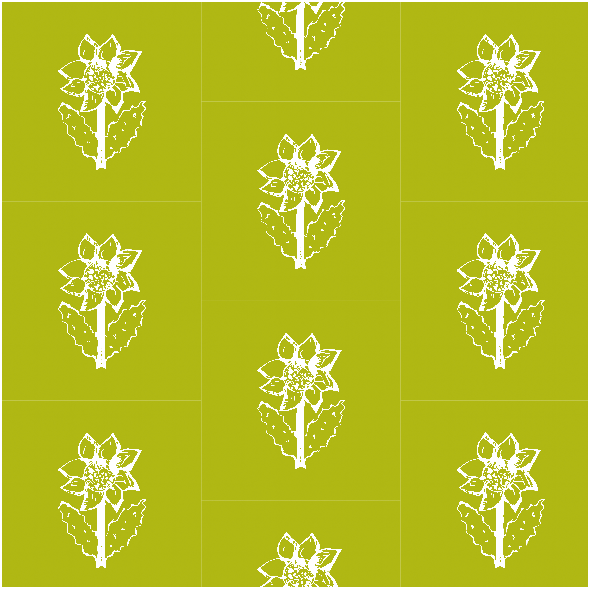 Tkanina 11771 | Sunflower - white and green pattern
