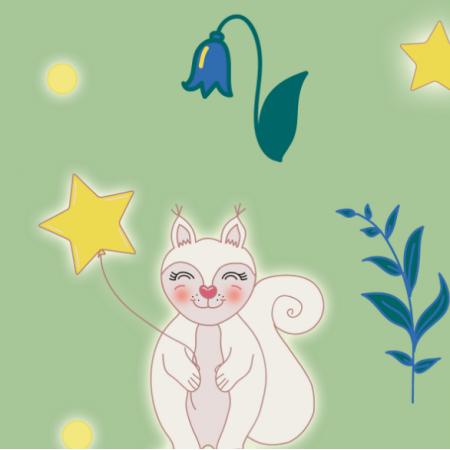 Fabric 11827 | wiewiórka w zieleni