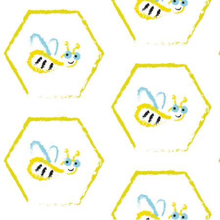 Tkanina 11888 | BUSY BEE - pattern for kids