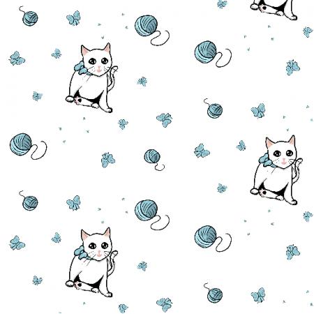 Fabric 11961 | Biała kicia