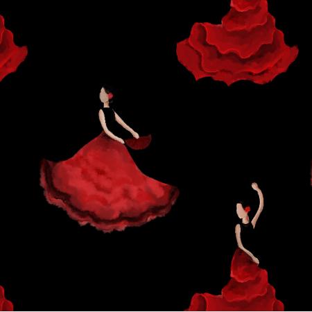 Fabric 11975   flamenco negro