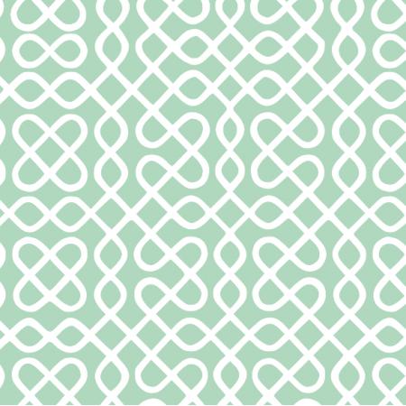 Fabric 12021 | zawijasy - białe na mięcie