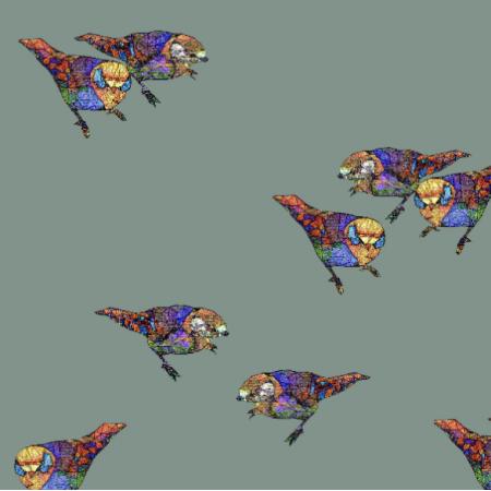 Tkanina 12044 | Khaki Birds
