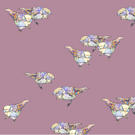 Tkanina 12047 | Powder Pink Birds