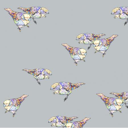 Tkanina 12053 | Grey Birds